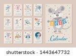 monthly calendar. rat is a... | Shutterstock .eps vector #1443647732