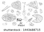 whole and sliced  pizza ... | Shutterstock .eps vector #1443688715