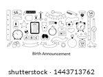 birth announcement. vector set... | Shutterstock .eps vector #1443713762