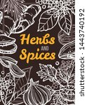 spices and herbs eco shop chalk ... | Shutterstock .eps vector #1443740192