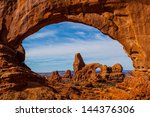 turret arch through north... | Shutterstock . vector #144376306