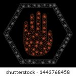 bright mesh abort hand with... | Shutterstock .eps vector #1443768458