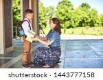 mother accompanies the child to ...   Shutterstock . vector #1443777158