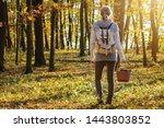 Woman With Mushrooms In Wicker...