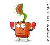cartoon venus flytrap plant in...