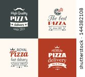 set of premium quality pizza... | Shutterstock .eps vector #144382108