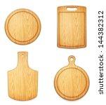 set of empty wooden cutting... | Shutterstock .eps vector #144382312