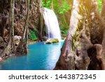beautiful waterfall blue water...   Shutterstock . vector #1443872345