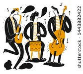 hand drawing the musicians... | Shutterstock .eps vector #1443882422