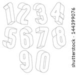 3d black and white numbers made ... | Shutterstock .eps vector #144399076