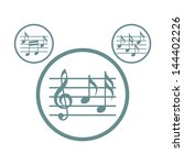 music sheets with g key and... | Shutterstock .eps vector #144402226