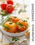 stuffed tomatoes  baked yellow...   Shutterstock . vector #1444033445