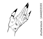 witch hands with black nails ... | Shutterstock .eps vector #1444055555