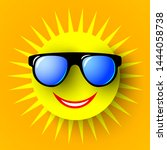 sun in glasses. summer banner.... | Shutterstock .eps vector #1444058738