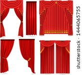 red curtains set isolated on... | Shutterstock .eps vector #1444065755