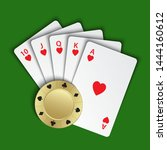 a royal flush of hearts with... | Shutterstock .eps vector #1444160612