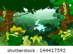 vector river in jungle... | Shutterstock .eps vector #144417592
