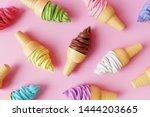 colorful ice cream cone pattern ...   Shutterstock . vector #1444203665