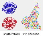 bundle cameroon map and blue... | Shutterstock .eps vector #1444235855