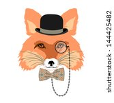 animal vector portrait, fox in bowler hat and monocle, vintage style portrait - stock vector
