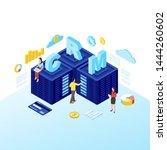 crm servers isometric vector... | Shutterstock .eps vector #1444260602