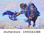 Stock photo man riding a horse with an eagle from kazakhstan 1444261388