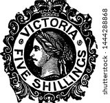Victoria Five Shillings Stamp from 1868 to 1878, vintage illustration.