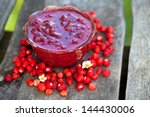 Wild Strawberry Jam On Wooden...