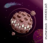 cartoon creepy monster planet ... | Shutterstock .eps vector #1444301165