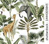 tropical vintage elephant ... | Shutterstock .eps vector #1444305845