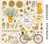 Romantic garden set with a lot of elements: bicycle, dog, plants, sheep, birds, rabbit, watering can. Summer farm card. vintage vector background.