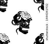 vector black white hand drawn... | Shutterstock .eps vector #1444341932