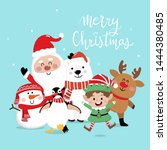 merry christmas greeting card... | Shutterstock .eps vector #1444380485