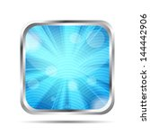 blue glossy icon with rays on a ... | Shutterstock .eps vector #144442906