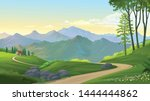 mountain view with a curvy road ... | Shutterstock .eps vector #1444444862