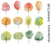 set of watercolor trees. hand...   Shutterstock . vector #1444447148
