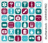 medical icon color set flat... | Shutterstock . vector #1444456982