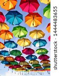 Stock photo beautiful and colorful umbrellas in downtown pensacola for foo foo festival the umbrellas were 1444483655
