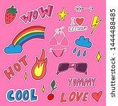 girl summer patch set on pink... | Shutterstock .eps vector #1444488485