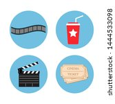 cinema icons vector. movie and... | Shutterstock .eps vector #1444533098