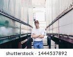 handsome young man in trendy...   Shutterstock . vector #1444537892