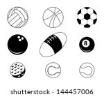 sports balls over white...   Shutterstock .eps vector #144457006