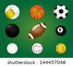 sports balls over green... | Shutterstock .eps vector #144457048