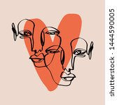 abstract face one line modern... | Shutterstock .eps vector #1444590005