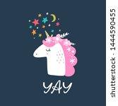 beautiful unicorn head and... | Shutterstock .eps vector #1444590455
