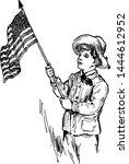 boy and flag vintage... | Shutterstock .eps vector #1444612952