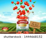 canned tomato ads with fresh... | Shutterstock .eps vector #1444668152