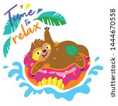 time to relax vector card with... | Shutterstock .eps vector #1444670558