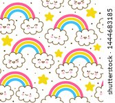 seamless pattern with cute... | Shutterstock .eps vector #1444683185
