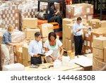 workers in warehouse preparing... | Shutterstock . vector #144468508